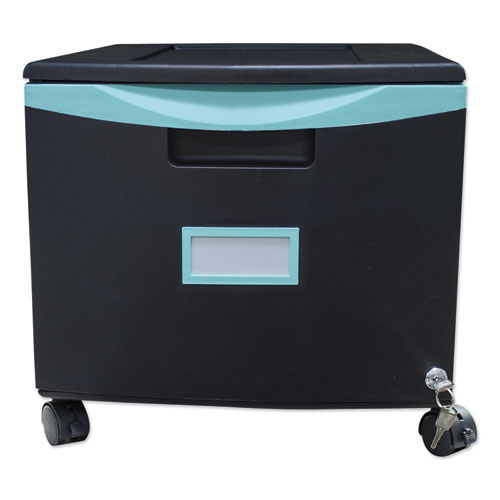 Single-Drawer Mobile Filing Cabinet, 14.75w x 18.25d x 12.75h, Black/Teal