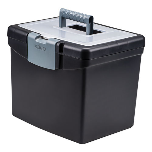 Portable File Box with Large Organizer Lid, Letter Files, 13.25 x 10.88 x 11, Black