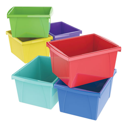 Storage Bins, 10 x 12 5/8 x 7 3/4, 4 Gallon, Assorted Color, Plastic