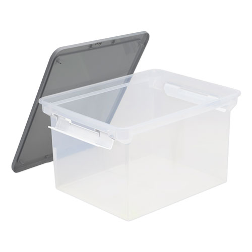 "Portable File Tote with Locking Handles, Letter/Legal Files, 18.5"" x 14.25"" x 10.88"", Clear/Silver 