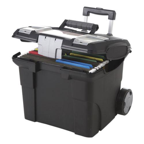 Premium File Cart, 15w x 16.38d x 14.25 to 30h, Black | by Plexsupply