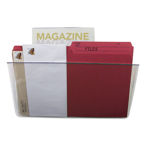 Wall File, Letter, 13 x 7, Single Pocket, Clear | by Plexsupply