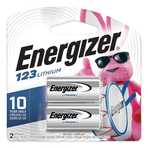 Energizer® 123 Lithium Photo Battery, 3V, 2/Pack