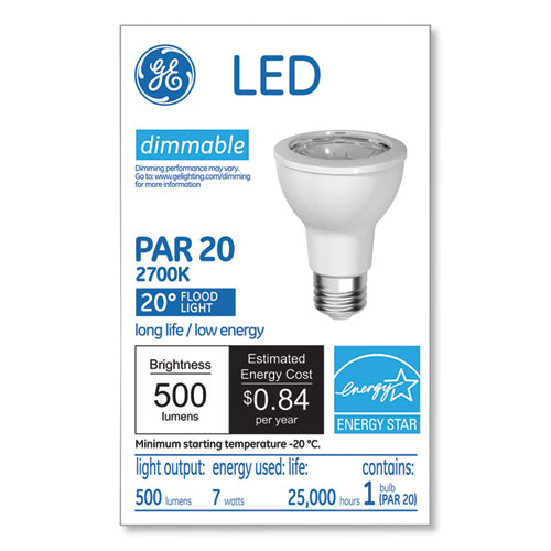 GE LED PAR20 Dimmable Warm White Flood Light Bulb, 3000K, 7 W
