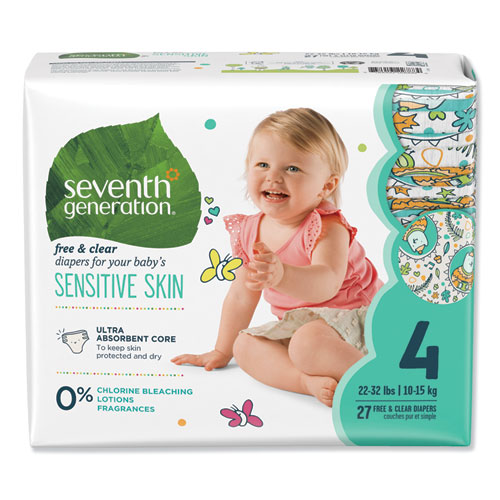 Free and Clear Baby Diapers, Size 4, 22 lbs to 32 lbs, 108/Carton