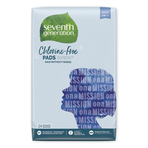 Seventh Generation® Chlorine-Free Ultra Thin Pads with Wings, Regular, 18/Pack, 6 Packs/Carton