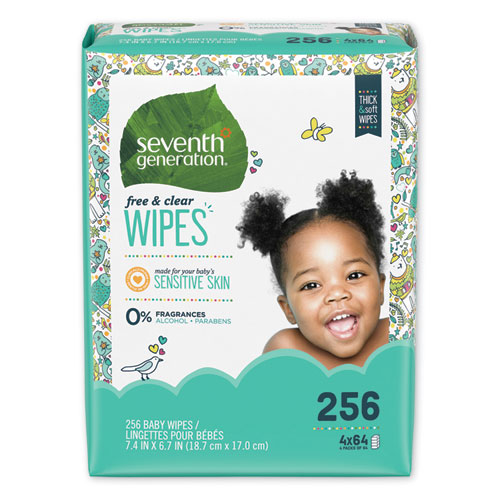Free  Clear Baby Wipes, Refill, Unscented, White, 256/PK, 3 PK/CT