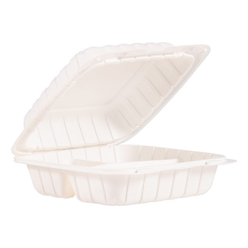 """ProPlanet™ by Dart® Hinged Lid Containers, 3-Compartment, 8.3"""" x 8"""" x 3"""", White, 150/Carton"""