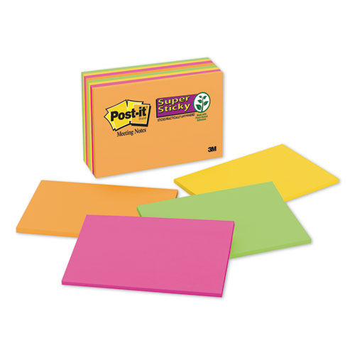 Meeting Notes in Rio de Janeiro Colors, 6 x 4, 45-Sheet, 8/Pack | by Plexsupply