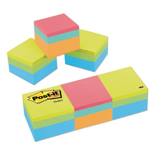 Mini Cubes, 1 7/8 x 1 7/8, Orange Wav/Green Wave, 400-Sheet, 3/Pack