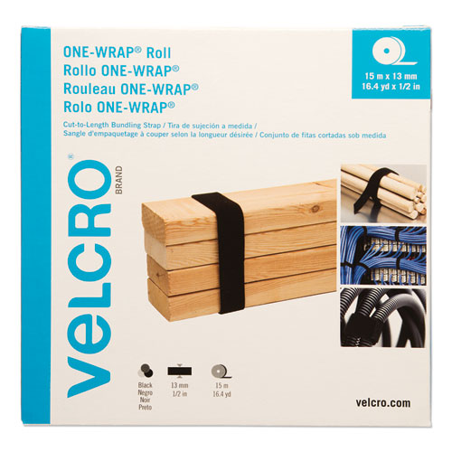 ONE-WRAP Cut-To-Fit Thin-Ties, 0.5 x 49 ft, Black