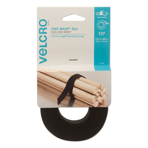 "ONE-WRAP Pre-Cut Standard Ties, 0.75"" x 12"", Black | by Plexsupply"