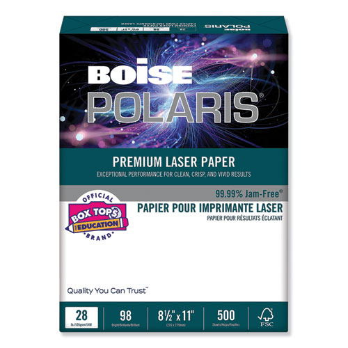 POLARIS Premium Laser Paper, 98 Bright, 28lb, 8.5 x 11, White, 500/Ream | by Plexsupply