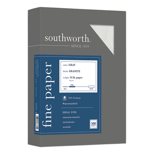 Granite Specialty Paper, 24 lb, 8.5 x 11, Gray, 500/Ream | by Plexsupply