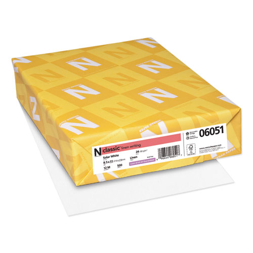 CLASSIC Linen Stationery, 97 Bright, 24 lb, 8.5 x 11, Solar White, 500/Ream