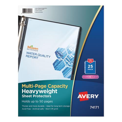 Multi-Page Top-Load Sheet Protectors, Heavy Gauge, Letter, Clear, 25/Pack | by Plexsupply