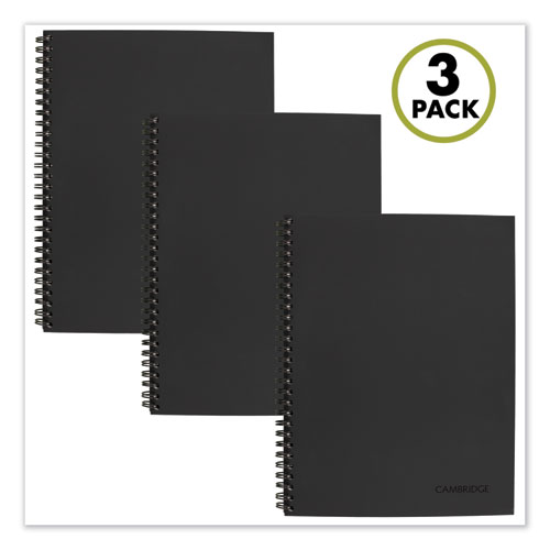 Wirebound Action Planner Notebook Plus Pack, Black, 9.5 x 7.25, 80 Sheets, 3/Pack | by Plexsupply