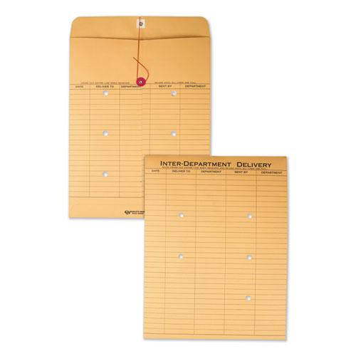 Brown Kraft String & Button Interoffice Envelope, #97, Two-Sided Five-Column Format, 10 x 13, Brown Kraft, 100/Carton | by Plexsupply