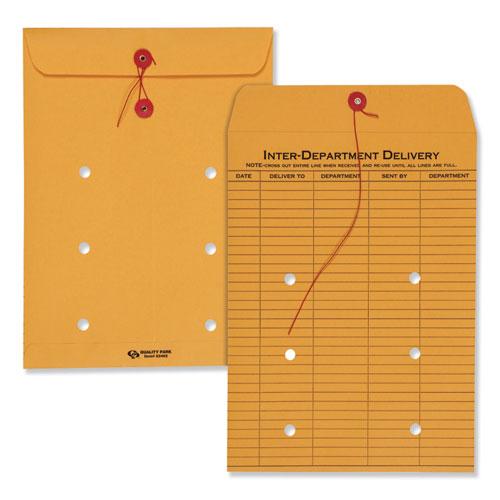 Brown Kraft String & Button Interoffice Envelope, #90, One-Sided Five-Column Format, 9 x 12, Brown Kraft, 100/Carton | by Plexsupply