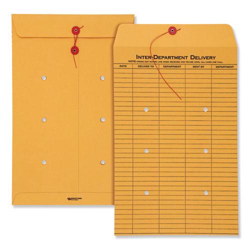 Brown Kraft String & Button Interoffice Envelope, #98, One-Sided Five-Column Format, 10 x 15, Brown Kraft, 100/Carton | by Plexsupply