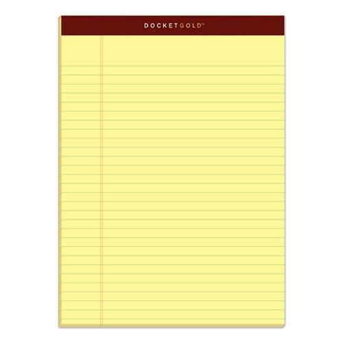 Docket Gold Ruled Perforated Pads, Wide/Legal Rule, 8.5 x 11.75, Canary, 50 Sheets, 12/Pack | by Plexsupply
