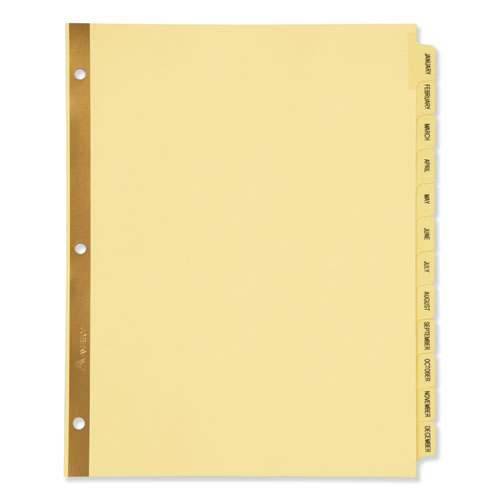 Preprinted Laminated Tab Dividers w/Gold Reinforced Binding Edge, 12-Tab, Letter | by Plexsupply