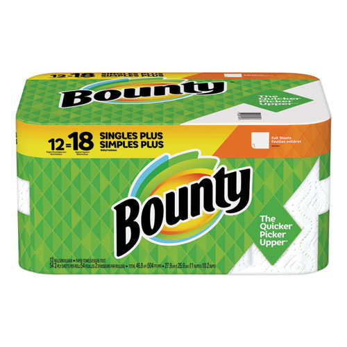 Bounty® Paper Towels, 2-Ply, White, 54 Sheets/Roll, 12 Rolls/Carton