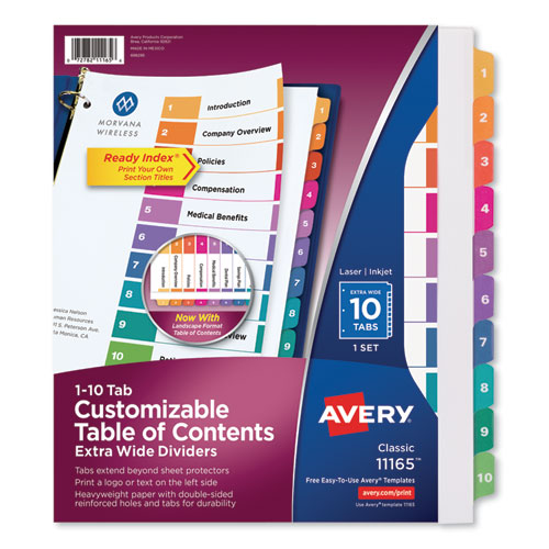 Customizable TOC Ready Index Multicolor Dividers, 10-Tab, Letter | by Plexsupply