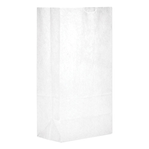 Grocery Paper Bags, 35 lbs Capacity, 5, 5.25w x 3.44d x 10.94h, White, 500 Bags