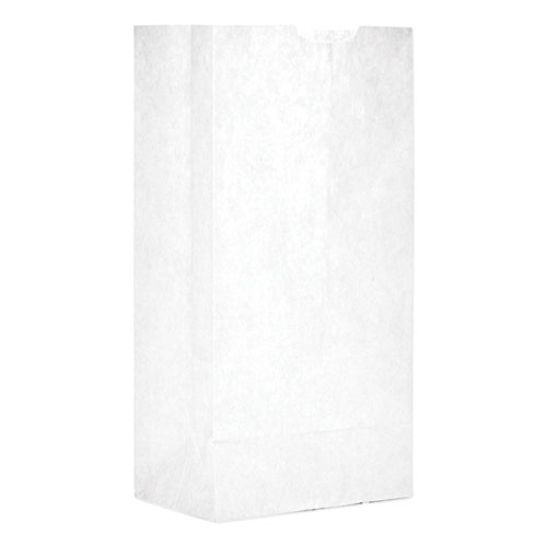 """Grocery Paper Bags, 30 lbs Capacity, #4, 5""""w x 3.33""""d x 9.75""""h, White, 500 Bags"""
