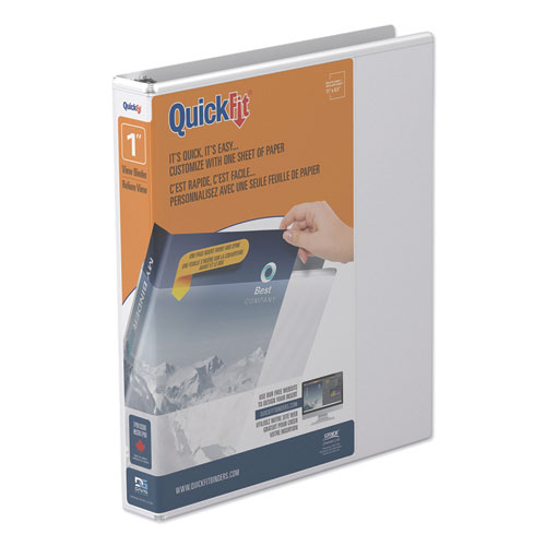 "QuickFit D-Ring View Binder, 3 Rings, 1"" Capacity, 11 x 8.5, White 