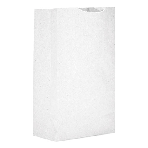 """Grocery Paper Bags, 30 lbs Capacity, #2, 4.31""""w x 2.44""""d x 7.88""""h, White, 500 Bags BAGGW2500"""
