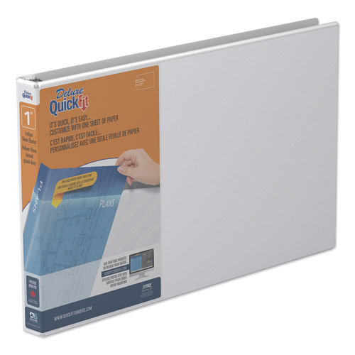 """QuickFit Ledger D-Ring View Binder, 3 Rings, 1"""" Capacity, 11 x 17, White 
