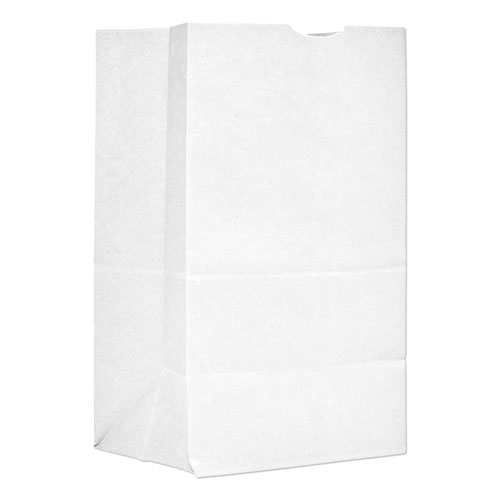 """Grocery Paper Bags, 40 lbs Capacity, #20 Squat, 8.25""""w x 5.94""""d x 13.38""""h, White, 500 Bags"""