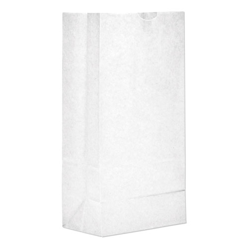 Grocery Paper Bags, 35 lbs Capacity, 8, 6.13w x 4.17d x 12.44h, White, 500 Bags