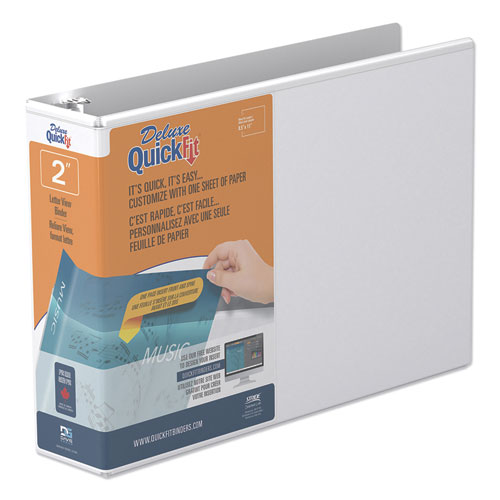 "QuickFit Landscape Spreadsheet Round Ring View Binder, 3 Rings, 2"" Capacity, 11 x 8.5, White 