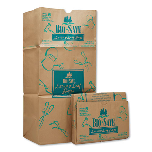"General Lawn and Leaf Bags, 30 gal, 16"" x 35"", Kraft, 50 Bags"