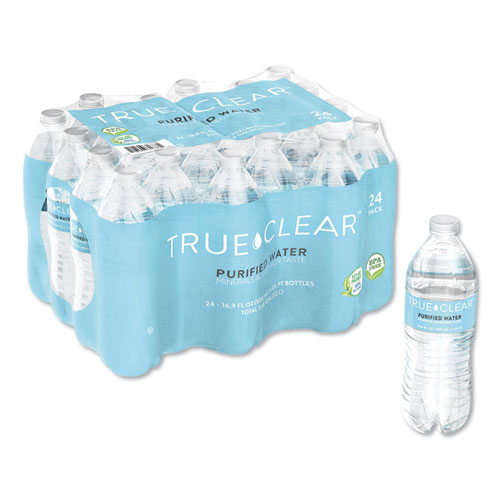 True Clear® Purified Bottled Water, 16.9 oz Bottle, 24 Bottles/Carton
