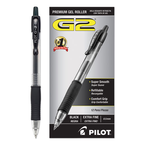 G2 Premium Retractable Gel Pen, 0.5mm, Black Ink, Smoke Barrel, Dozen