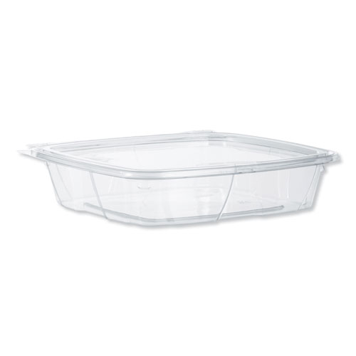 SafeSeal Tamper-Resistant, Tamper-Evident Deli Containers with Flat Lid, 35 oz, Clear, 200/Carton