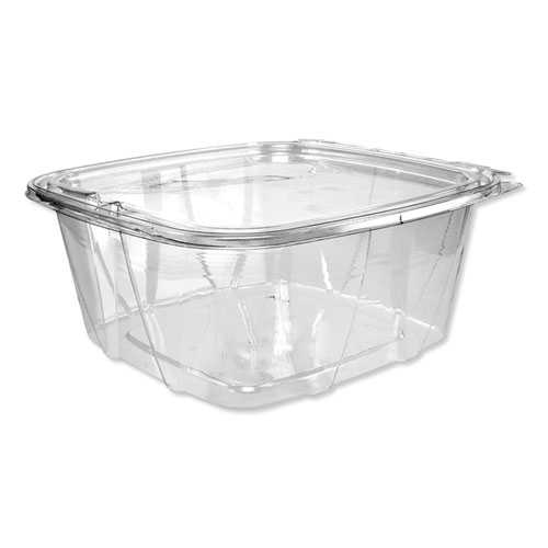 SafeSeal Tamper-Resistant, Tamper-Evident Deli Containers with Flat Lid, 64 oz, Clear, 200/Carton