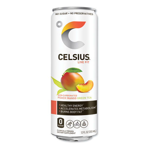 Live Fit Fitness Drink, Peach Mango Green Tea, 12 oz Can, 12/Carton