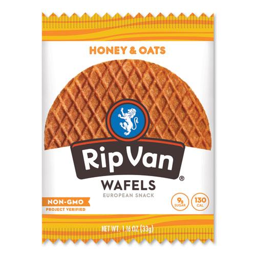 Rip Van® Wafels - Single Serve, Honey and Oats, 1.16 oz Pack, 12/Box
