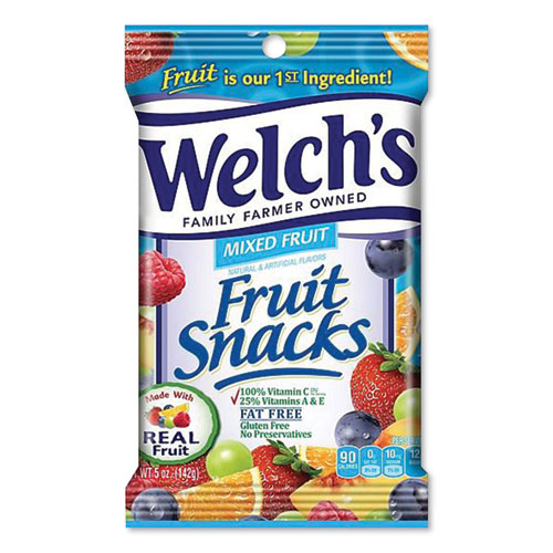 Welch's® Fruit Snacks, Mixed Fruit, 5 oz Pouch, 12/Carton