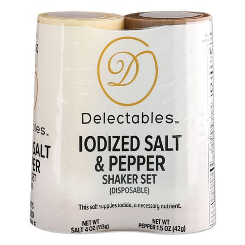 Salt and Pepper Shaker Combo, 4 oz Salt Dispenser and 1.5 oz Pepper Dispenser