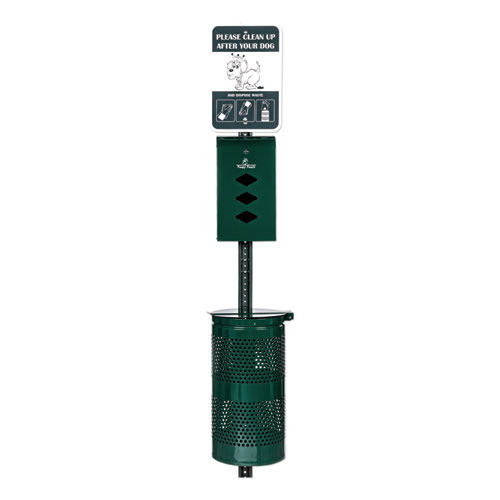 Monarch Pet Waste Station, 12 x 14 x 96, Hunter Green