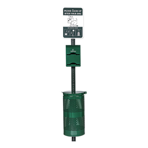 Imperial Pet Waste Station, 12 x 14 x 96, Hunter Green