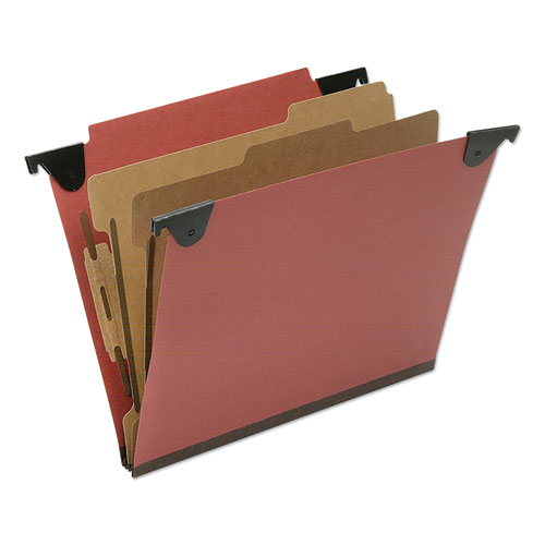 7530016815828 SKILCRAFT Classification Folder, 2 Dividers, Letter Size, Red, 10/Box