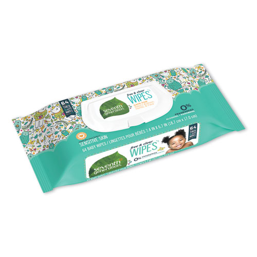Seventh Generation® Free and Clear Baby Wipes, Unscented, White, 64/Pack