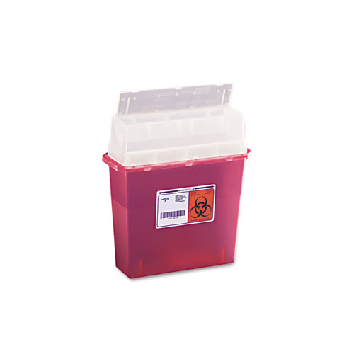 Sharps Containers, Rectangular, Plastic, 3gal, Red/Clear